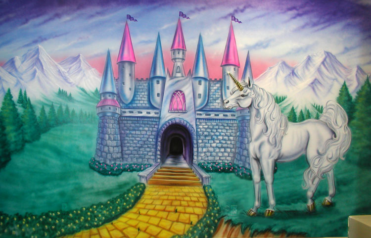 Fairytale Mural with Castle and Unicorn
