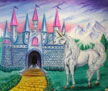 Fairytale Mural with castle & unicorn